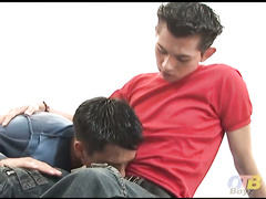 Cute little Angel is back and he's got adorable Santiago in bed for a sexy bareback romp.