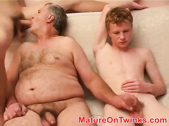 Young boy services his older partner doggystyle