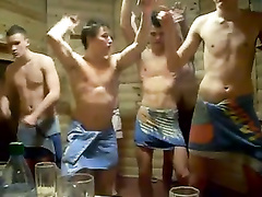 Great sauna party of the half-naked men