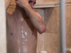 Boy has jerked off the rod and taken shower