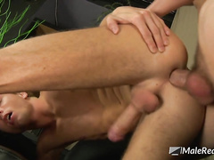 Clean shaved ass is fully packed by stiff ram rod
