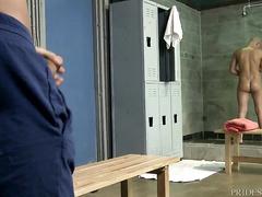 Bald gay is pleasuring hot fuck in locker room with skinny twink