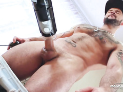 Bearded gay dude is getting pleased with blowjob by hungry twink