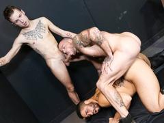 A threesome of gay boys reaches wild gay pleasure