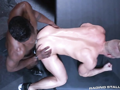 White twink in latex panties and mask gets fucked by black gay