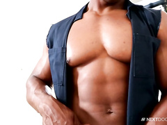 Black young hunk is hotly exciting from watching gay porn magazine