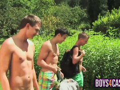 Three gay friends are pleasuring hot threesome outdoors