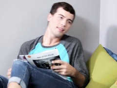 Brunette twink got seduced while reading book