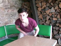 Teen guy is fondling his dick in front of hidden cam
