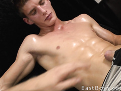 Pretty young and sexy shaped twink pleasures hot handjob