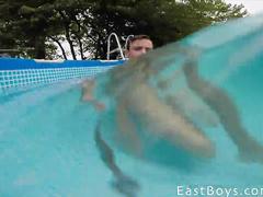 Guy is freshening in pool before hotly masturbating dick