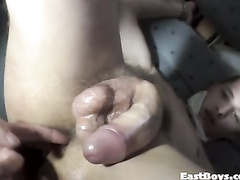 Amateur gay gets cock and anal masturbated