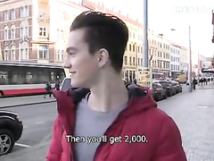 Cutie guy with sexy haircut is getting paid big cash for showing dick